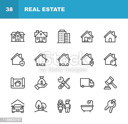 istock Real Estate Line Icons. Editable Stroke. Pixel Perfect. For Mobile and Web. Contains such icons as Building, Family, Keys, Mortgage, Construction, Household, Moving, Renovation, Blueprint, Garage. 1158830787