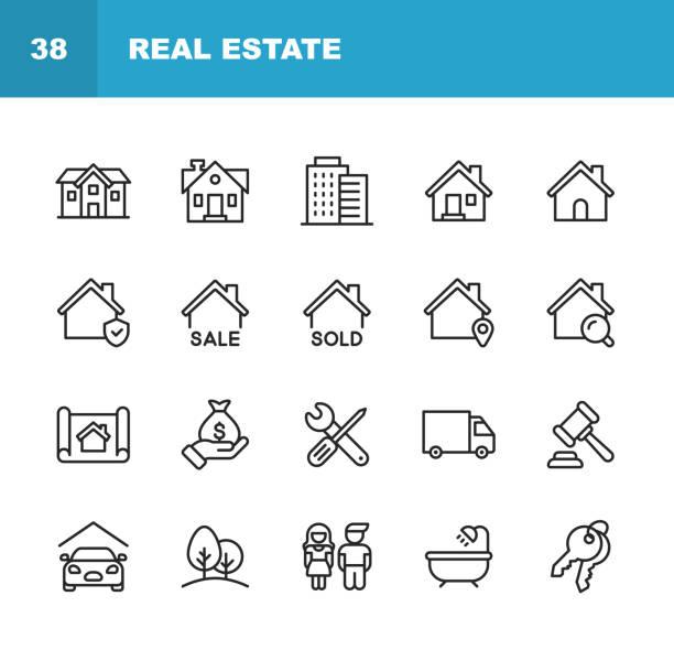 ilustrações, clipart, desenhos animados e ícones de ícones da linha dos bens imobiliários. traçado editável. pixel perfeito. para mobile e web. contem tais ícones como o edifício, família, chaves, hipoteca, construção, agregado familiar, movendo-se, renovação, blueprint, garagem. - edifício residencial