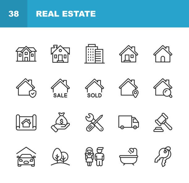 Real Estate Line Icons. Editable Stroke. Pixel Perfect. For Mobile and Web. Contains such icons as Building, Family, Keys, Mortgage, Construction, Household, Moving, Renovation, Blueprint, Garage. 20 Real Estate Outline Icons. personal land vehicle stock illustrations