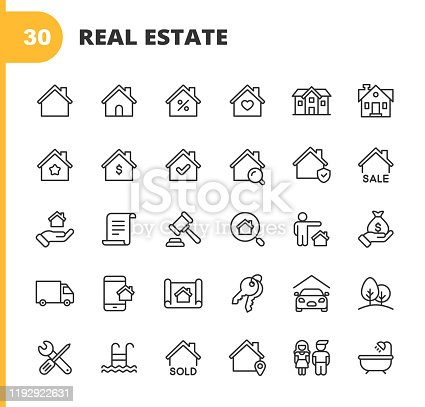 istock Real Estate Line Icons. Editable Stroke. Pixel Perfect. For Mobile and Web. Contains such icons as Building, Family, Keys, Mortgage, Construction, Household, Moving, Renovation, Blueprint, Garage. 1192922631