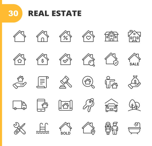 Real Estate Line Icons. Editable Stroke. Pixel Perfect. For Mobile and Web. Contains such icons as Building, Family, Keys, Mortgage, Construction, Household, Moving, Renovation, Blueprint, Garage. 30 Real Estate Outline Icons. house stock illustrations