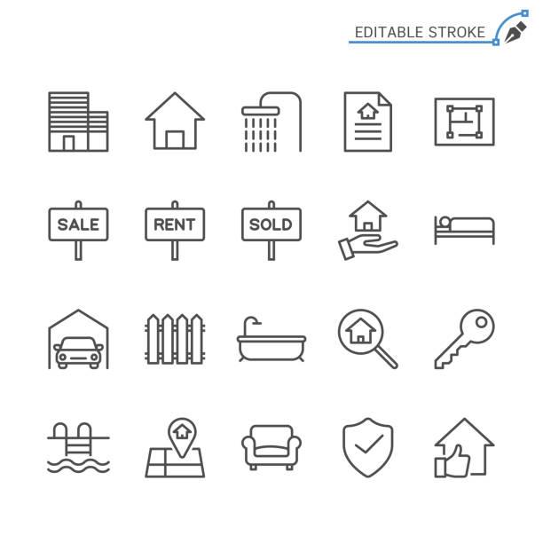 Real estate line icons. Editable stroke. Pixel perfect. vector art illustration