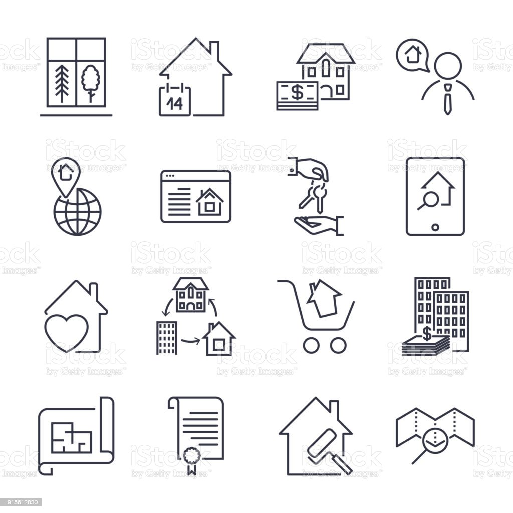 Real estate line icons. Icon set with editable stroke vector art illustration