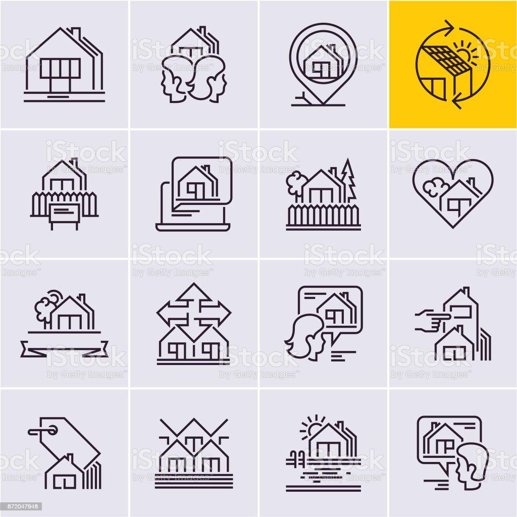 Immobilien Litauen immobilien linie symbole festgelegt haussymbol home vektor