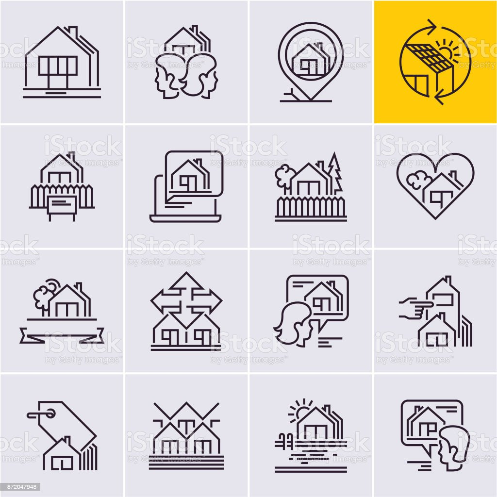 real estate line icons set, house icon, home vector art illustration