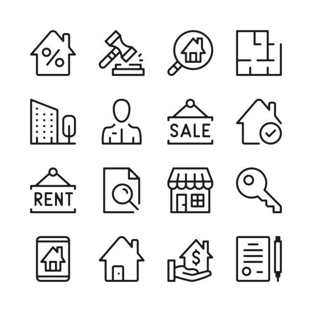ilustraciones, imágenes clip art, dibujos animados e iconos de stock de conjunto de iconos de línea de bienes raíces. conceptos de diseño gráfico modernos, colección de elementos de contorno lineal simple. diseño de línea delgada. iconos de línea vectorial - embargo hipotecario
