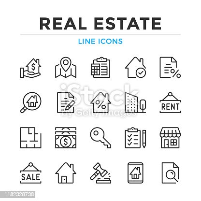 Real estate line icons set. Modern outline elements, graphic design concepts. Stroke, linear style. Simple symbols collection. Vector line icons
