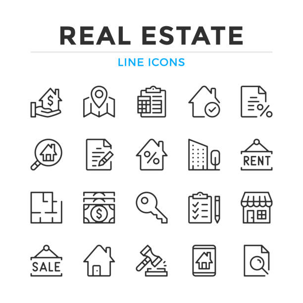 Real estate line icons set. Modern outline elements, graphic design concepts. Stroke, linear style. Simple symbols collection. Vector line icons Real estate line icons set. Modern outline elements, graphic design concepts. Stroke, linear style. Simple symbols collection. Vector line icons lease agreement stock illustrations