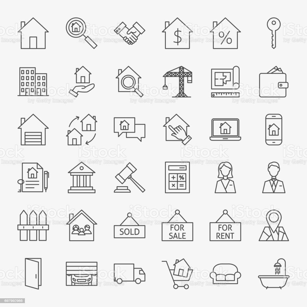 Real Estate Line Icons Set vector art illustration