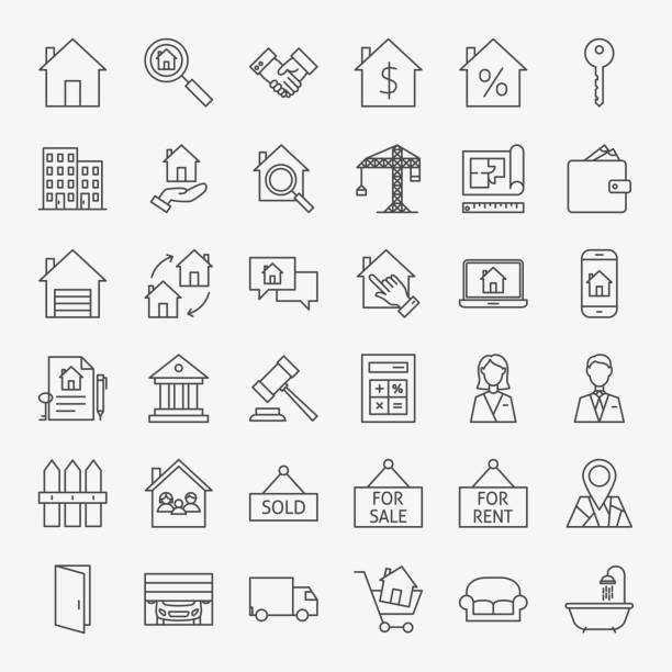 real estate line icons set - new home stock illustrations, clip art, cartoons, & icons