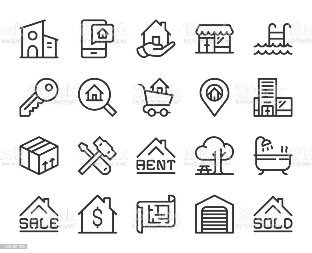 Real Estate - Line Icons vector art illustration