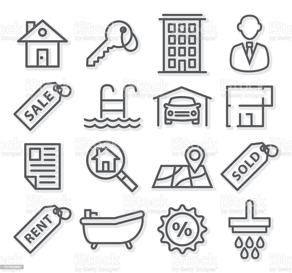Real Estate Line Icons vector art illustration