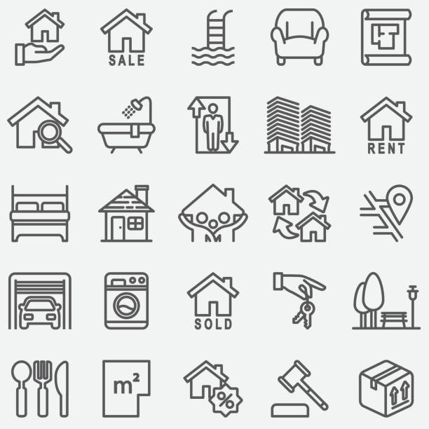 real estate line icons - new home stock illustrations