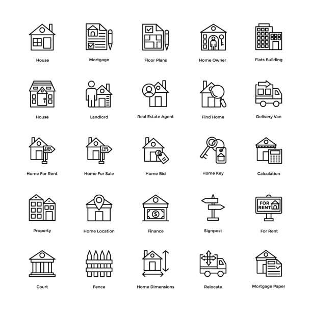 부동산 선 벡터 아이콘 세트 1 - work from home stock illustrations