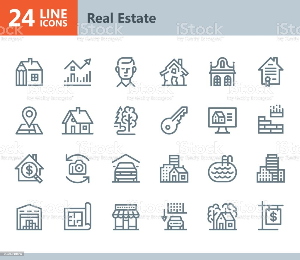 Real Estate - line vector icons vector art illustration