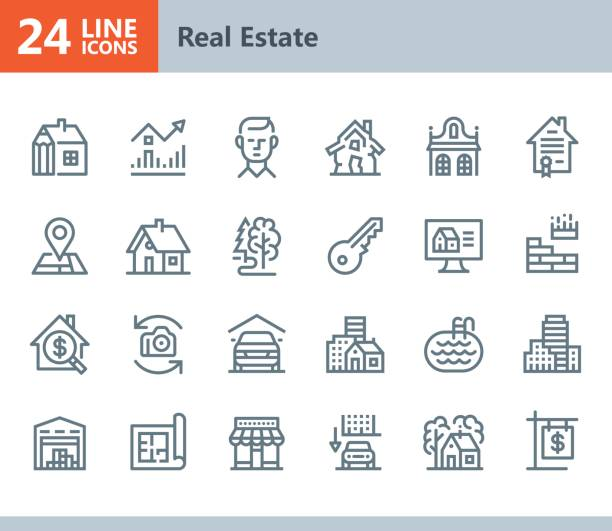 real estate - line vector icons - architecture symbols stock illustrations