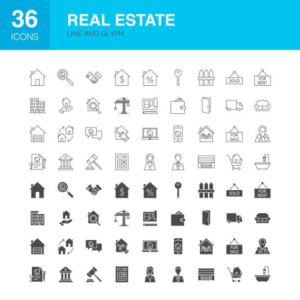 illustrations, cliparts, dessins animés et icônes de icônes de glyphe web de ligne immobilière - état solide