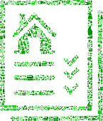 Real Estate Listing Cleaning Background Pattern. The vector icons fill the outline of the main shape depicted in this illustration and form a seamless pattern. These cleaning icons vary in size and in the shade of the green color. The icons include classic cleaning symbols such as the maid, cleaning supplies, cleaning bottles and many others.