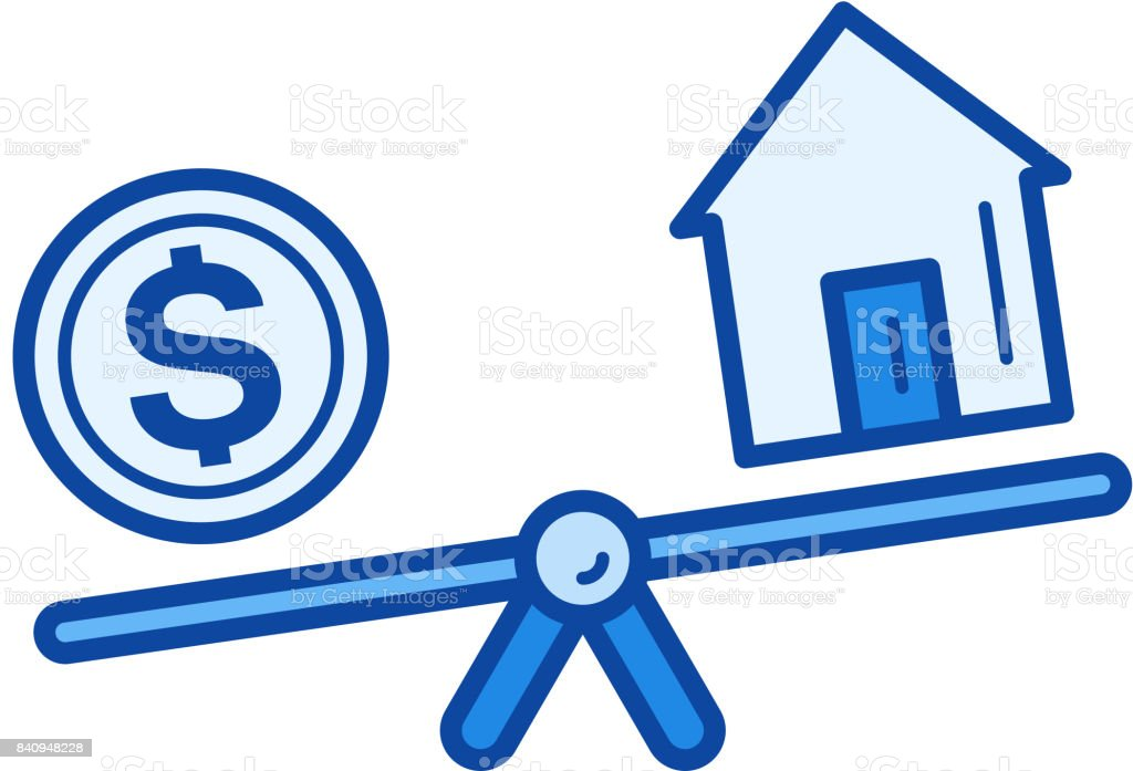 Real estate loan line icon