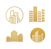 Real estate logo, building development, set of logos, icons and graphic elements