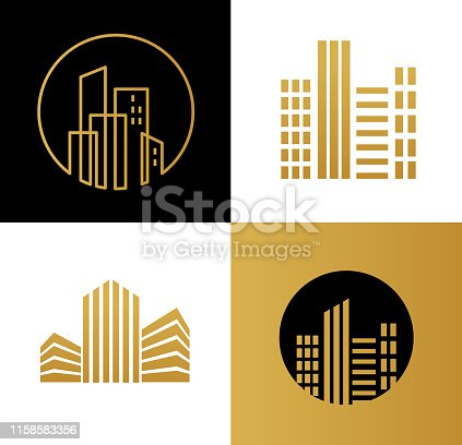 Real estate logo, building development, set of logos, icons and elements