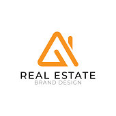 Real estate logo design orange and black color minimal and flat concept isolated on white background