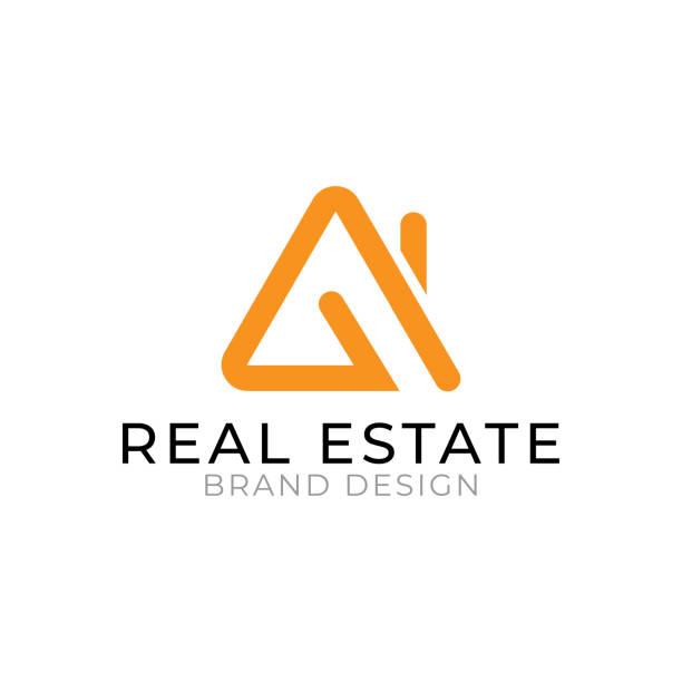 ilustraciones, imágenes clip art, dibujos animados e iconos de stock de logotipo inmobiliario diseño naranja y negro color mínimo y concepto plano aislado sobre fondo blanco - logotipos de bienes inmuebles