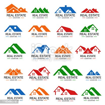 istock Real estate logo design set 1163660797