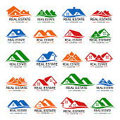 Real estate logo design set