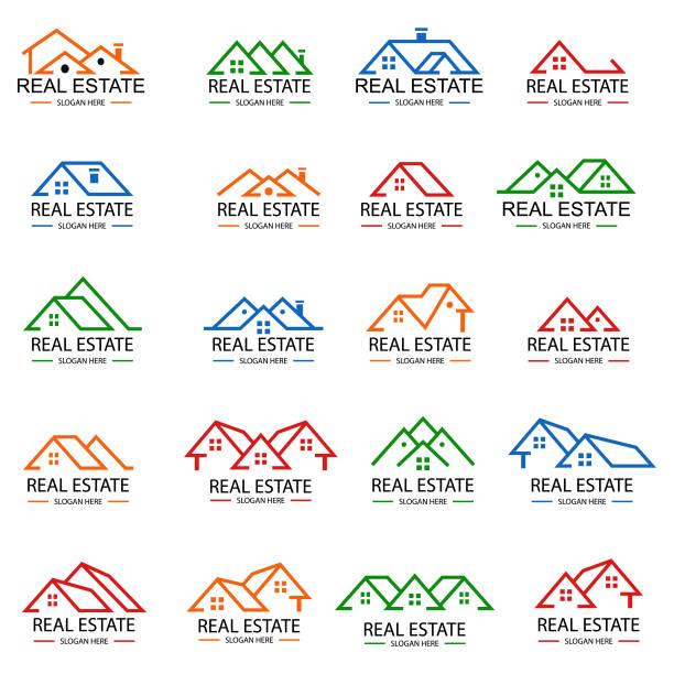 real estate logo design - real estate logos stock illustrations, clip art, cartoons, & icons