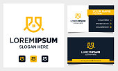 Real Estate Logo Design with Letter U initial and business card template