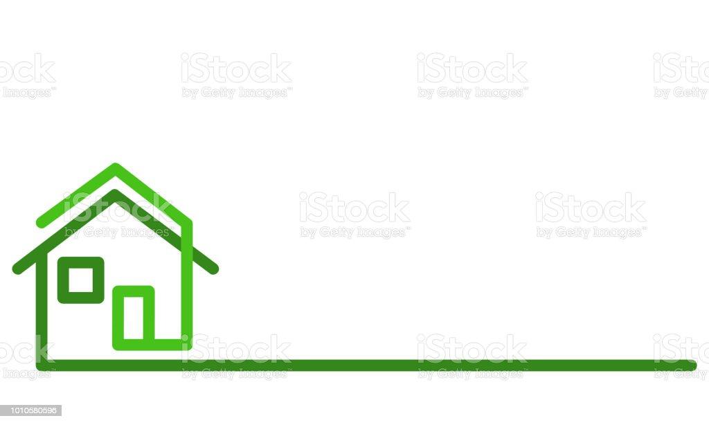 Real Estate Logo, green house on white, stock vector illustration