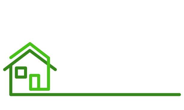 real estate logo, green house on white, stock vector illustration - real estate logos stock illustrations, clip art, cartoons, & icons