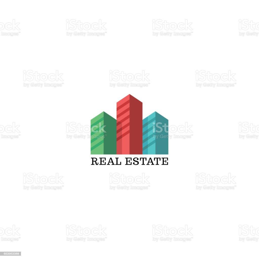 Ilustración de Maqueta De Logo Inmobiliario Coloreado Siluetas Del ...