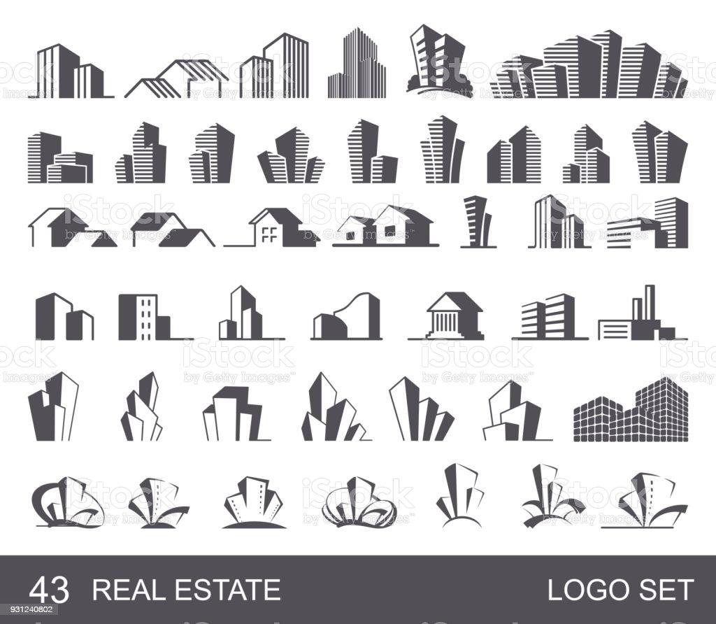 Real Estate Logo Set royalty-free real estate logo set stock illustration - download image now