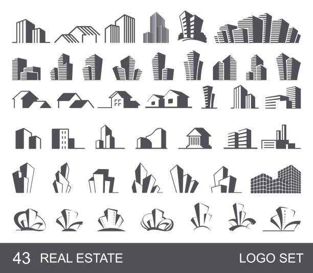 real estate logo set - architecture silhouettes stock illustrations