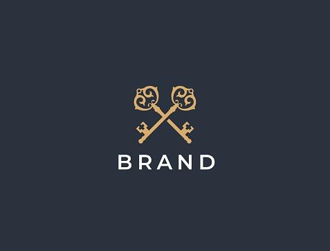 Real estate logotype. Keys icon design. Premium sumbol.