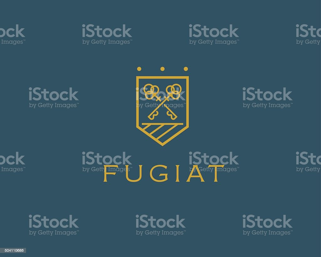 Real estate logotype. Keys shield icon design vector art illustration