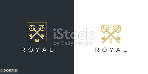 istock Real estate luxury keys icon 1290677123