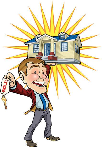 real estate mann - schlüsselfertig stock-grafiken, -clipart, -cartoons und -symbole