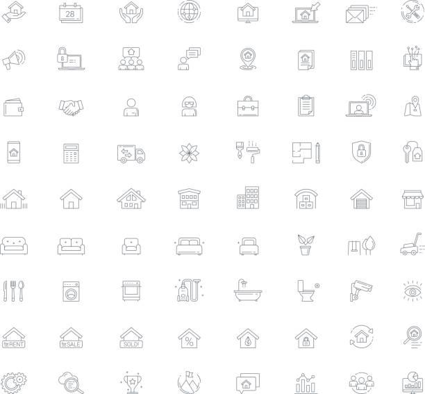 real estate management vektorlinie icon-set - gartensofa stock-grafiken, -clipart, -cartoons und -symbole