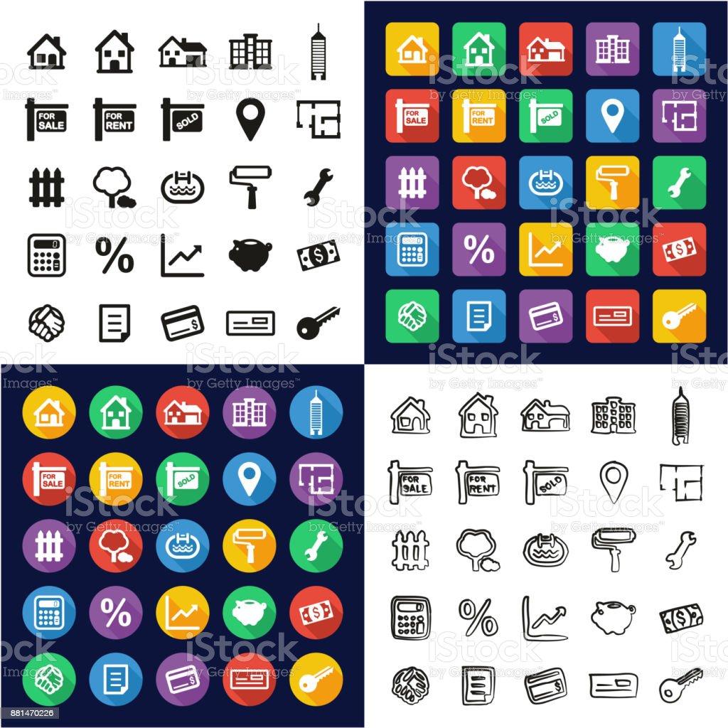 Real Estate Market All in One Icons Black & White Color Flat Design Freehand Set vector art illustration