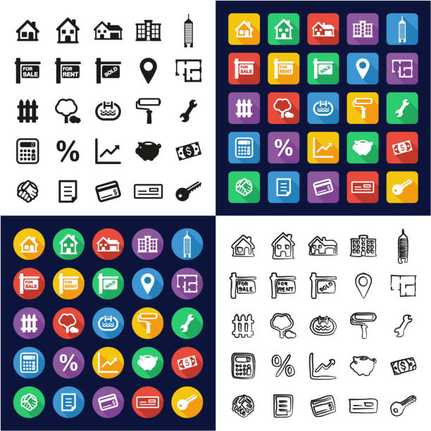 Real Estate Market All in One Icons Black & White Color Flat Design Freehand Set vector art illustration
