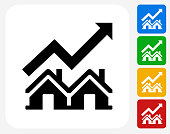 Real Estate Market Increase Icon Flat Graphic Design