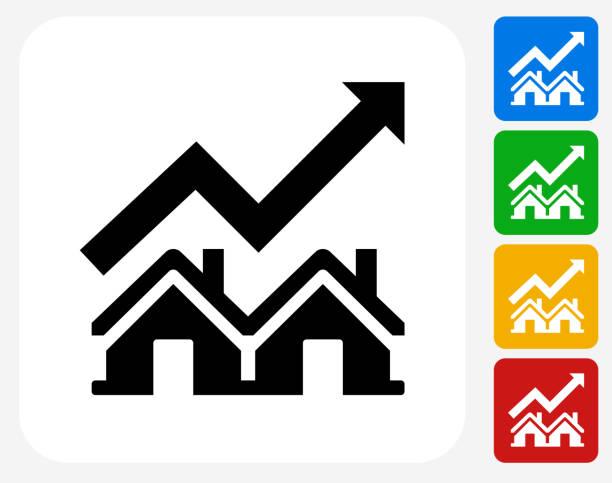 illustrations, cliparts, dessins animés et icônes de immobilier icône du marché à la conception graphique - inflation