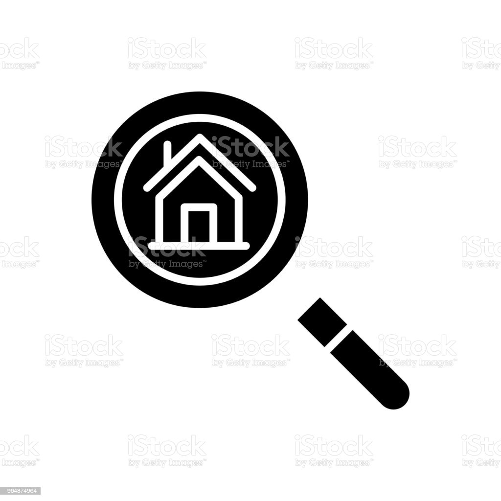 Real estate market research black icon concept. Real estate market research flat  vector symbol, sign, illustration. royalty-free real estate market research black icon concept real estate market research flat vector symbol sign illustration stock illustration - download image now