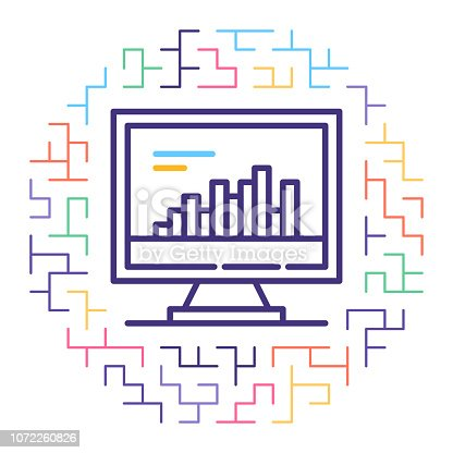 Line vector icon illustration of real estate market trends with maze background.