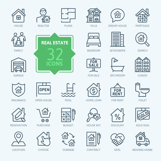 illustrazioni stock, clip art, cartoni animati e icone di tendenza di set di icone web a linea sottile di real estate. raccolta icone contorno. - appartamento