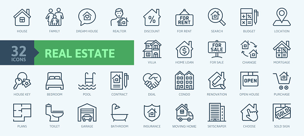 Real Estate minimal thin line web icons collection. Included the icons as realty, property, mortgage, home loan and more.
