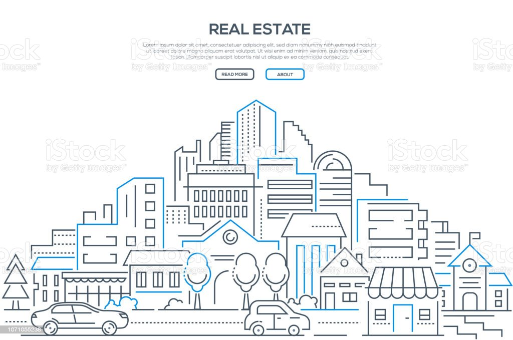 Real estate - modern line design style web banner - Векторная графика Автомобиль роялти-фри